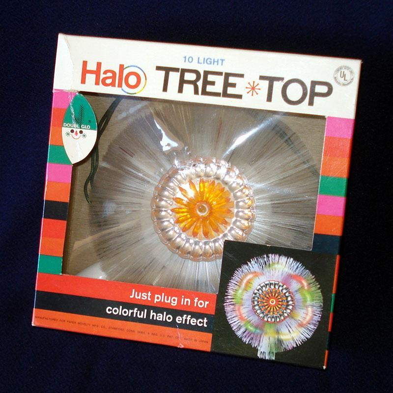 Doubl Glo Fiber Optic Lighted Halo Christmas Tree Topper In Box