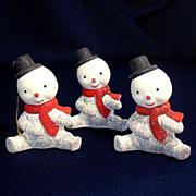 3 Composition 1950s Snowman Christmas Ornaments