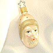 Ivory Father Christmas Head Glass Christmas Ornament