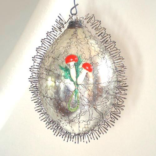 Mercury Glass Wire Wrapped Egg Ornament With Mushrooms