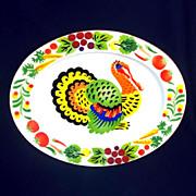 Colorful Mid Century Enamelware Turkey Platter