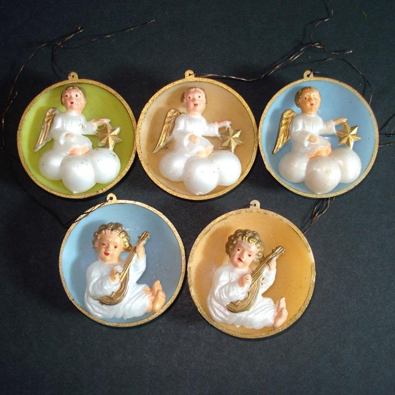 Angels on Clouds 1950s Plastic Christmas Ornaments