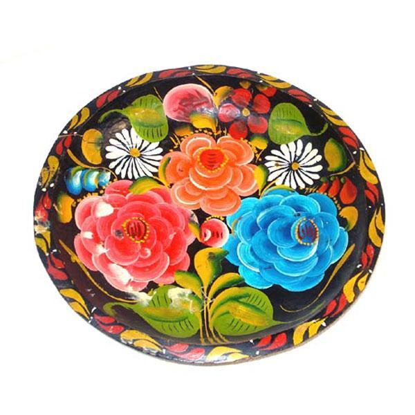 Colorful Hand Painted Mexican Floral Batea Bowl