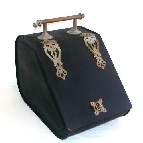 Victorian Metal Coal Box Bin Scuttle With Bronze Hardware