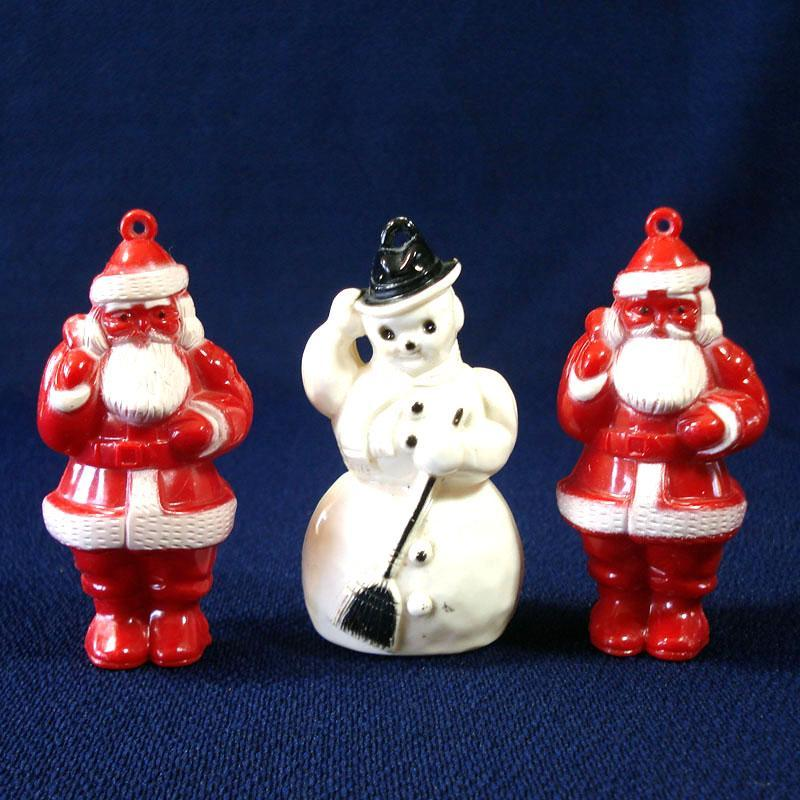 1950s Hard Plastic Santa Claus Snowman Christmas Ornaments