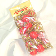 Satin Ball and Gold Tinsel Christmas Garland Mint in Package