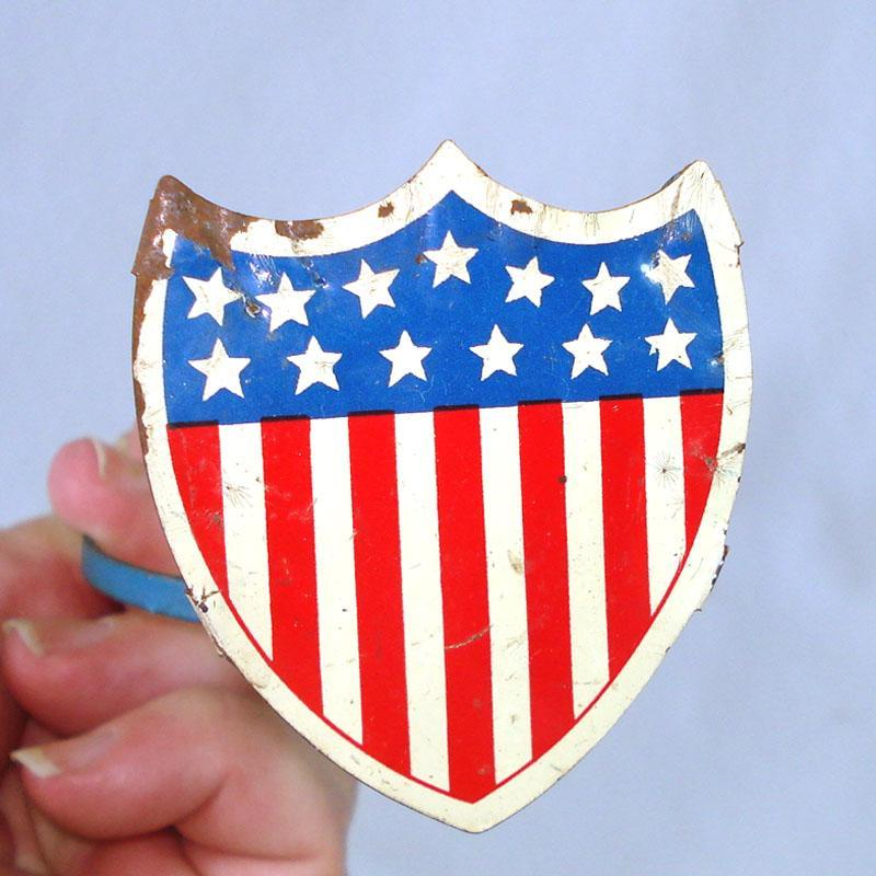Union Shield Patriotic Flag Holder Radiator Ornament For Automobile