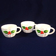 3 Holt Howard Christmas Holly Punch or Snack Cups