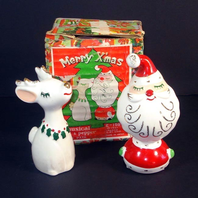 Inarco Retro Santa Reindeer Christmas Salt Pepper Shakers Boxed Set