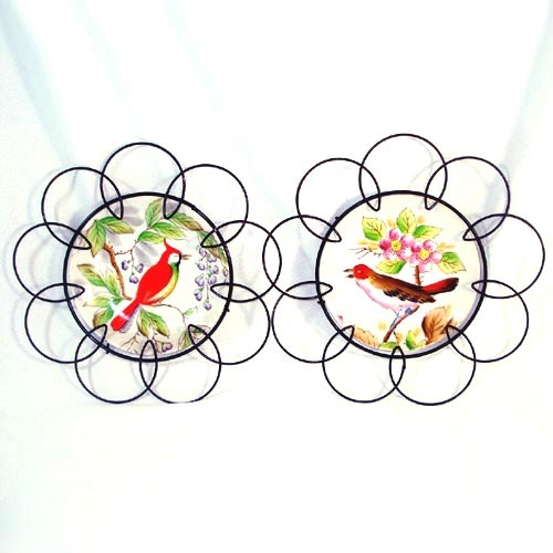 Hand Painted Bird Wall Plates in Black Wire Frames 1950s Retro