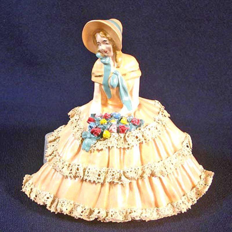 Realistic Chalkware Figurine Victorian Sunbonnet Lady Lace Dress