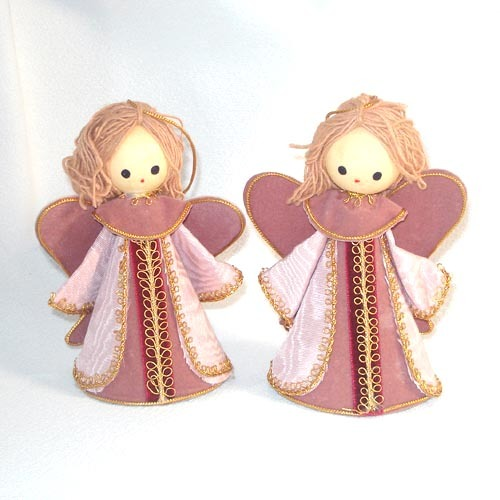 2 Japan Pink Yarn Hair Angel Christmas Ornaments