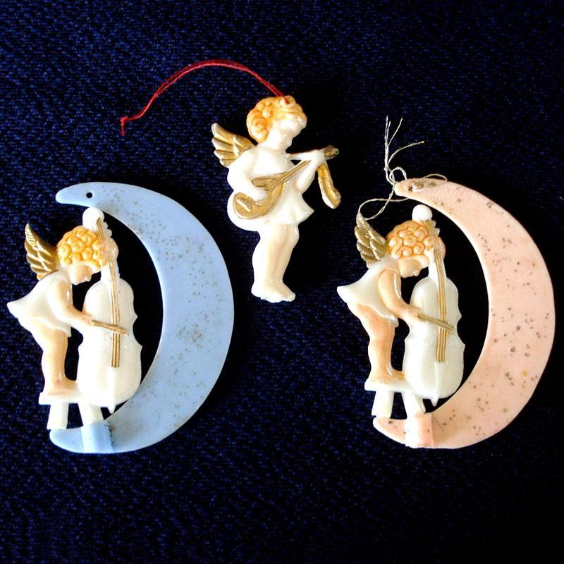 Painted Plastic Musical Angel on Moon Christmas Ornaments