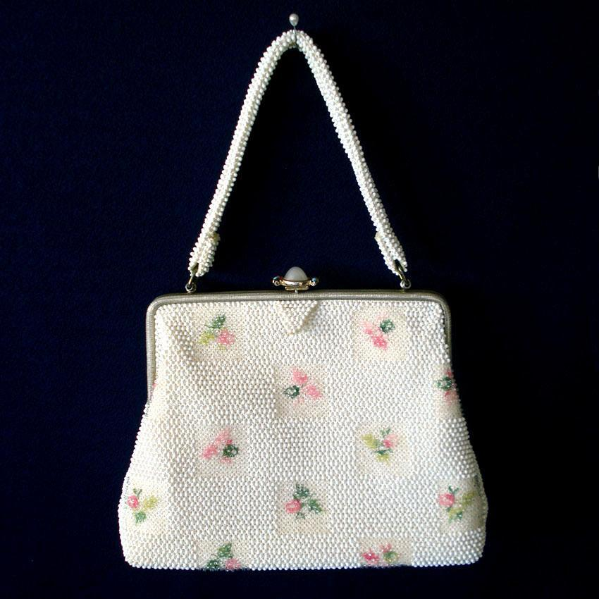 Lumured 1950s Corde Beaded Floral Purse