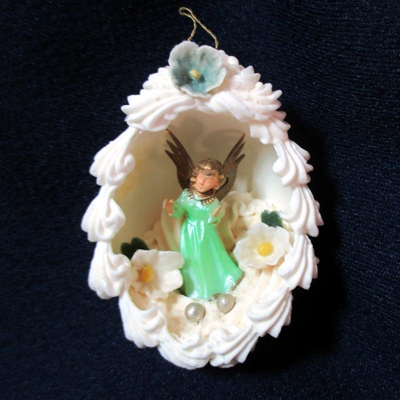 Real Egg Shell Diorama Scene Ornament With Angel