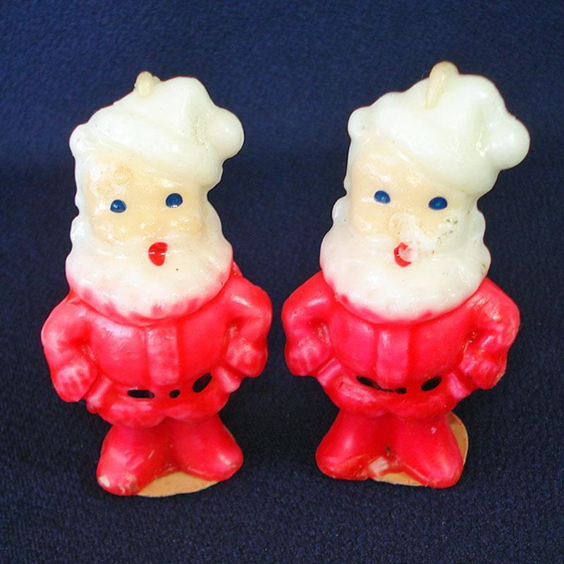 2 Vintage Gurley Santa Claus Figural Candles