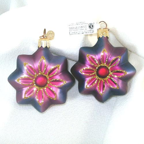 Dept. 56 Pair Purple Blue Glass Flower Christmas Ornaments