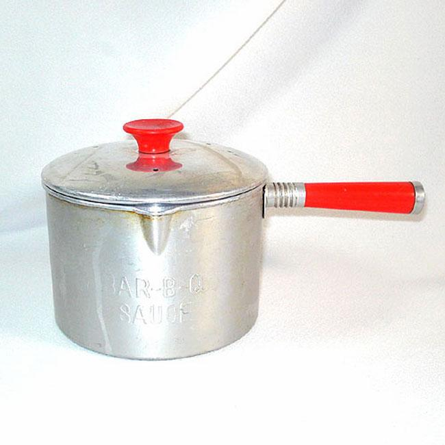 Aluminum and Red Plastic Vintage Barbecue Sauce Pot