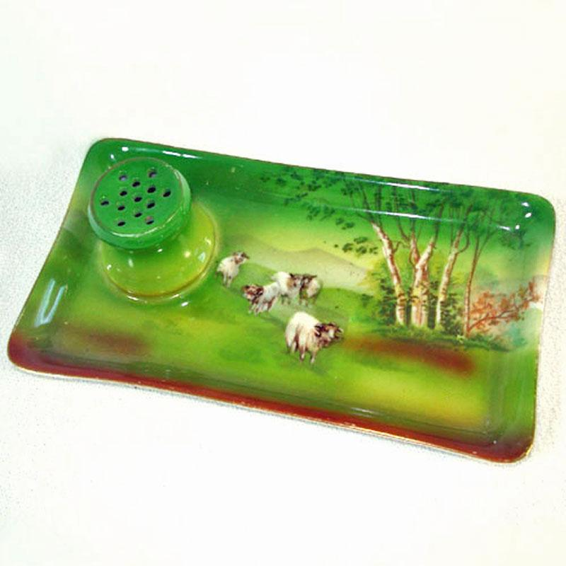 Royal Bayreuth Highland Sheep Hat Pin Holder Attached Dresser Tray