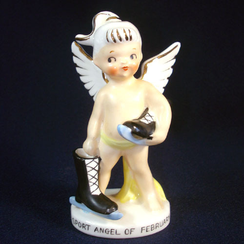 1950s Japan Porcelain February Sport Angel Figurine Ice Skater