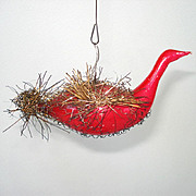 Antique Red Swan in Tinsel Cradle German Glass Christmas Ornament