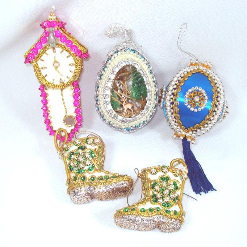5 Pin Beaded Sequined Hand Crafted Christmas Ornaments