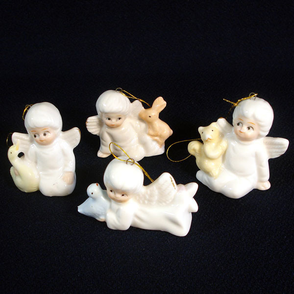 4 Bone China Angels Christmas Ornaments