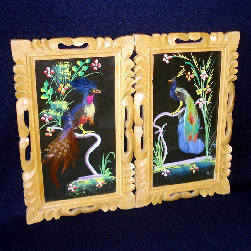 Pair Framed Mexican Bird Feather Art Pictures
