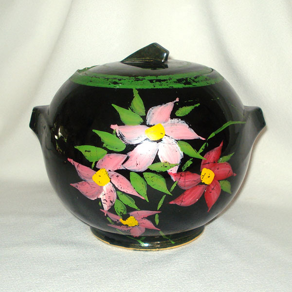 McCoy Pottery Deco Ball Cookie Jar Hand Painted Pink Flowers
