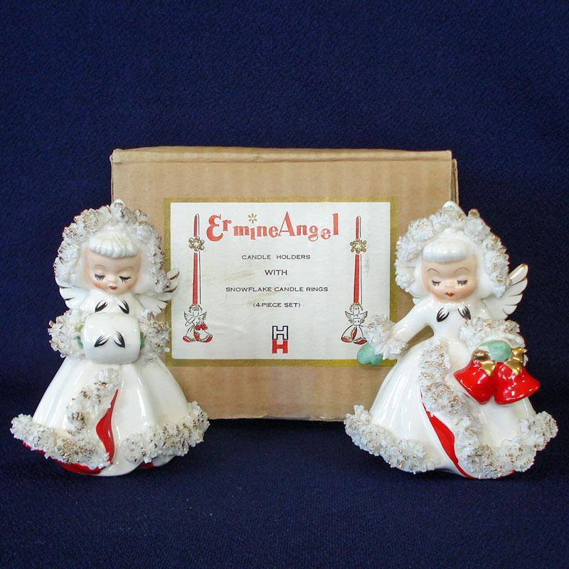 6 Germany Hard Plastic Barefoot Christmas Angel Candle Holders
