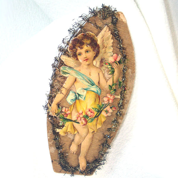 Angel Cherub in Canoe Victorian Scrap Christmas Ornament