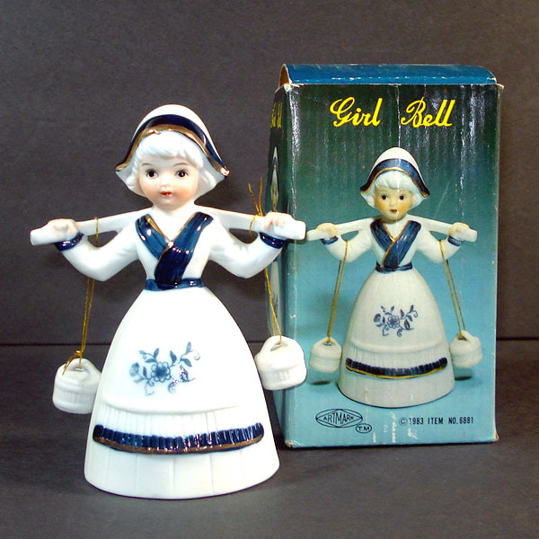 Artmark Porcelain Bisque Dutch Girl Bell Mint in Box