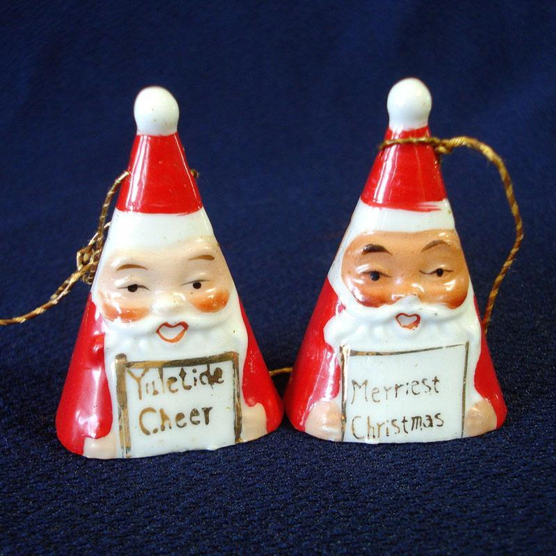 Ardalt Mini Triangle Shape 1950s Santa Bell Christmas Ornaments