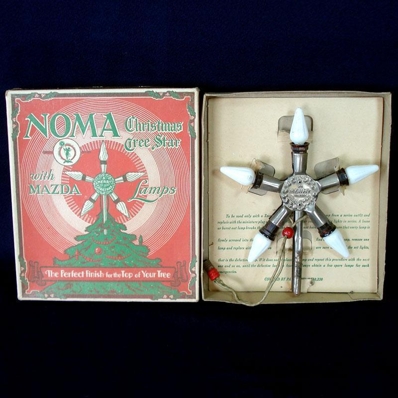 1920s Noma Lighted Metal Christmas Tree Star Topper In Box