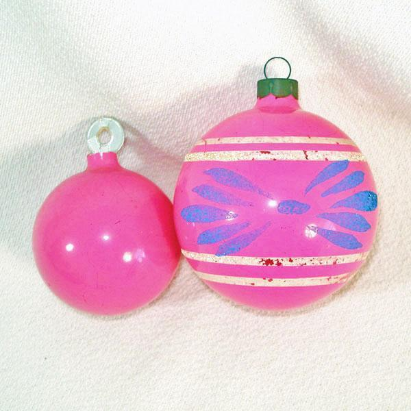 2 Opaque Pink Unsilvered 1940s Christmas War Ornaments