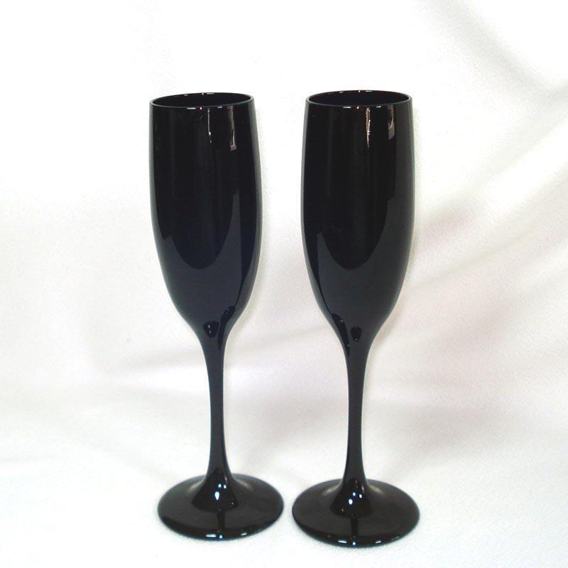 2 Libbey Premier Black Amethyst Fluted Champagne Goblets