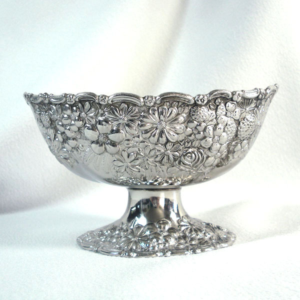 Embossed Flowers Fruit Silverplate Pedestal Bowl Compote