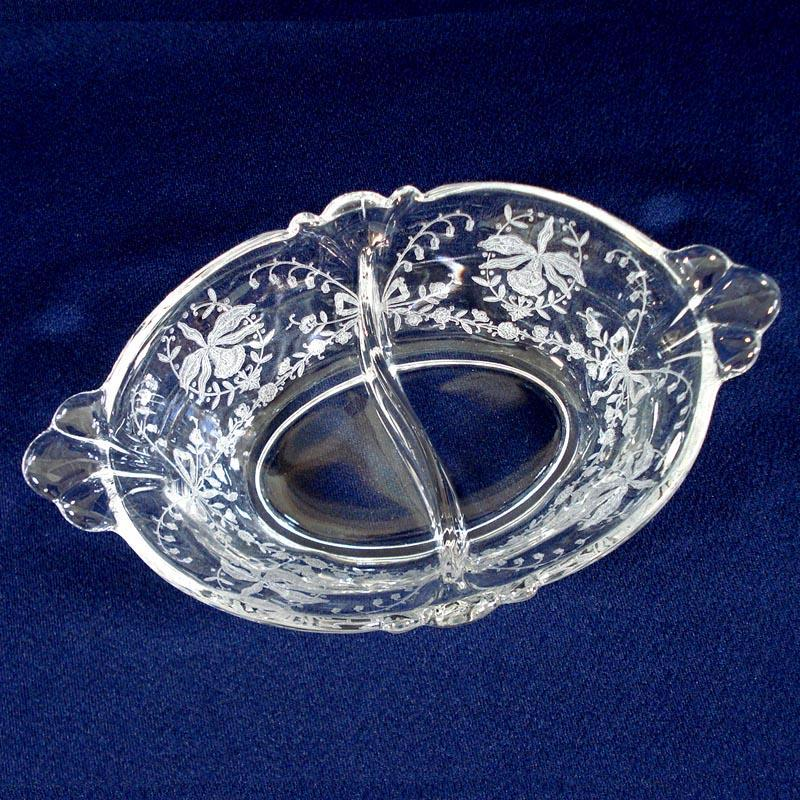 Heisey Orchid Divided Oval Dressing Bowl
