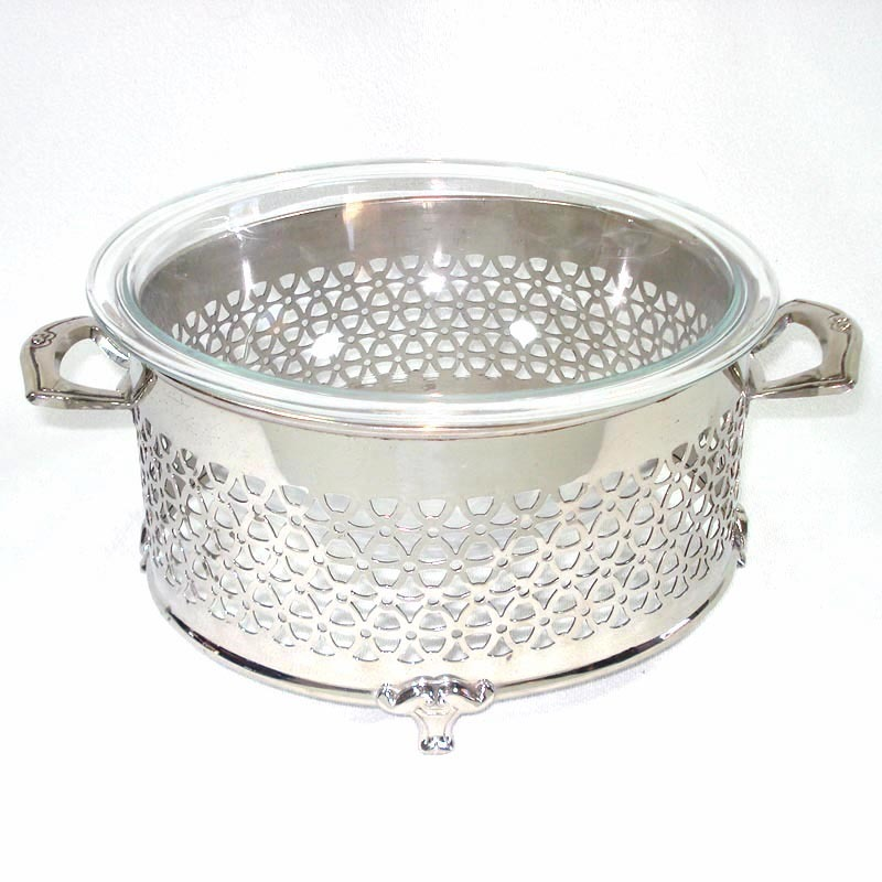 Manning Bowman Reticulated Chrome Casserole Cradle Holder