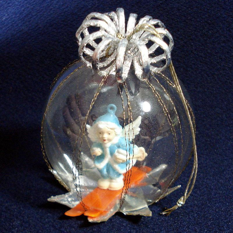 Skiing Angel Dimensional Dome Scene Glass Christmas Ornament