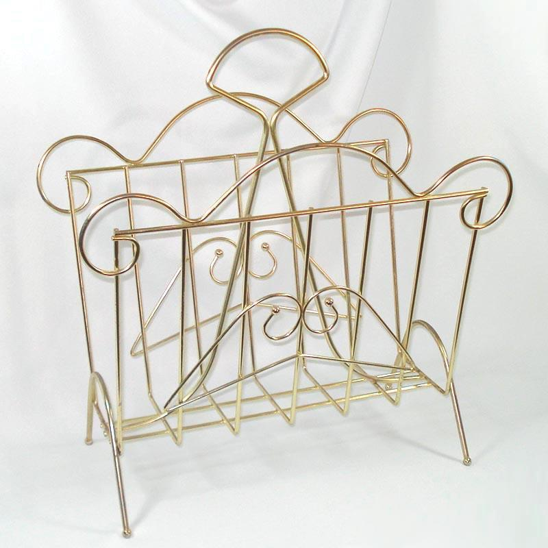 Mid Century Scrolly Brass Wire Magazine Rack