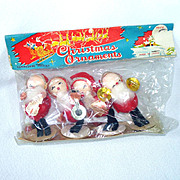Commodore 1950s Set Composition Santa Ornaments Mint in Package