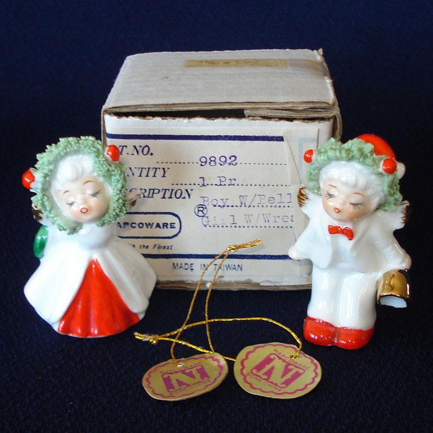 Napco Bone China Kissing Christmas Angel Figurines Mint in Box