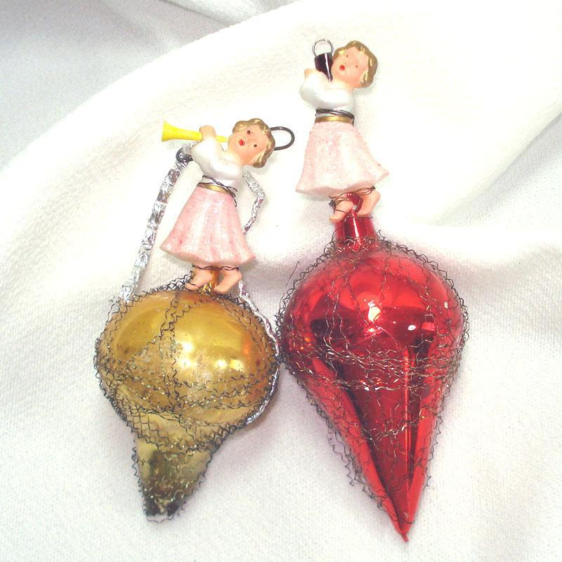 1930s Barefoot Girls on Wire Wrap Glass Christmas Ornaments