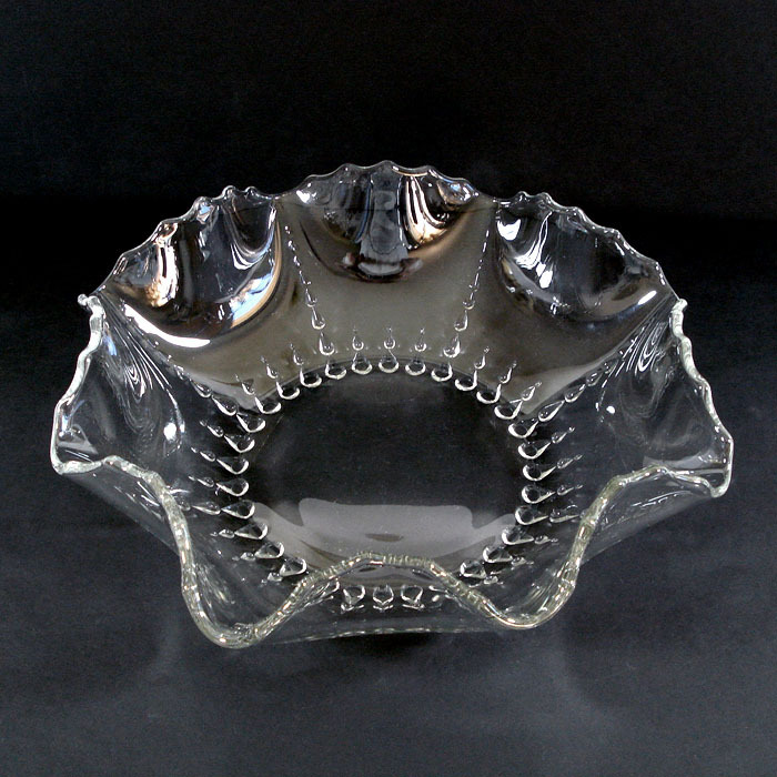 New Martinsville Radiance 12 Inch Crimped Crystal Bowl