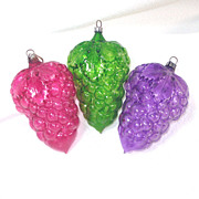 3 Unsilvered Grape Clusters Glass Christmas Ornaments