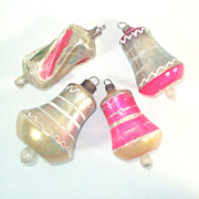 4 German Antique Free Blown Bell Glass Christmas Ornaments