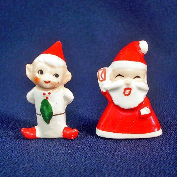 Holt Howard Porcelain Santa and Elf Christmas Ornaments