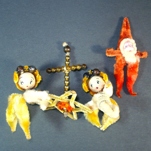 Chenille Angels With Cross and Clay Face Santa Christmas Ornaments