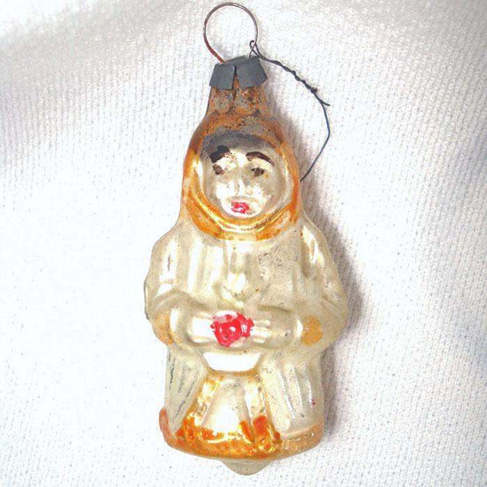 1930s German Snow Angel Glass Christmas Ornament